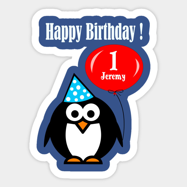 Personalized Birthday Card Penguin With Balloon Quotes Sticker