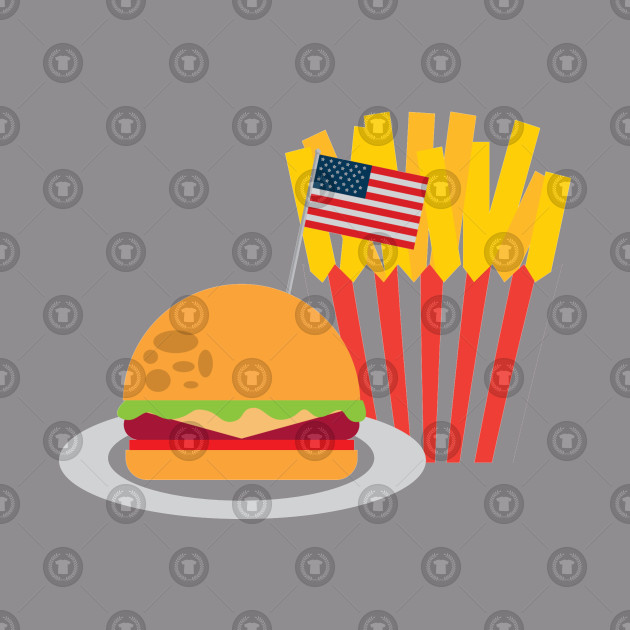 American Flag Burger And French Fries
