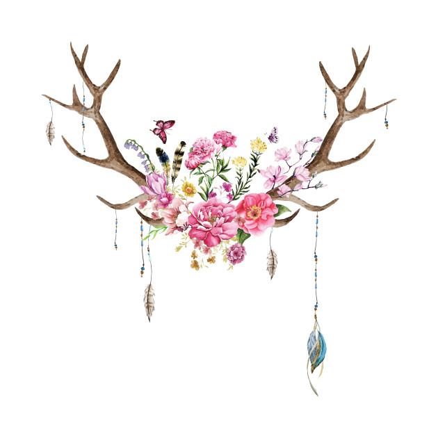 Floral Deer Antlers Deer Antlers T Shirt Teepublic