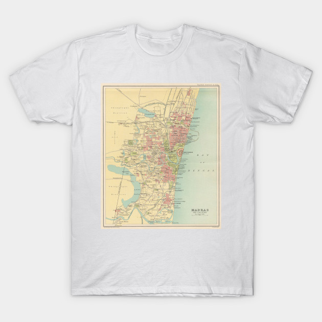 Madras India Map.Vintage Map Of Madras India 1909 Madras India Map T Shirt