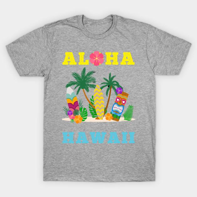 Aloha Hawaiian Surfing Summer Hawaii Beach Holiday Fun Womens T Shirt