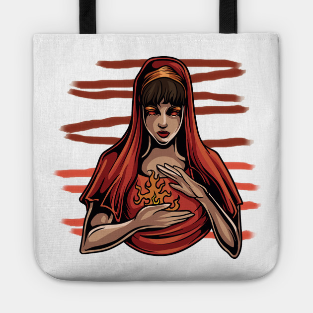 Red woman with fire hands