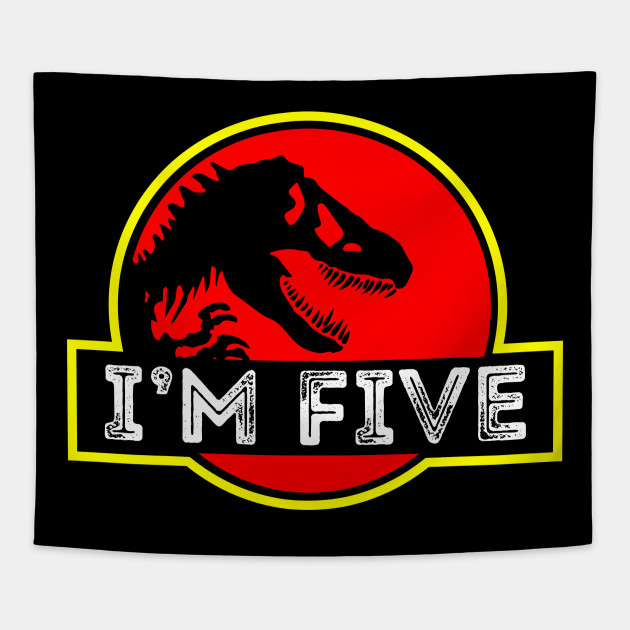 Funny Dinosaur 5th Birthday Gifts Idea T Shirt For Kids Tapestry