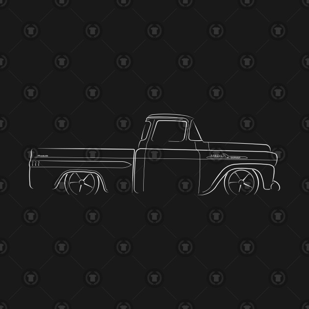 apache 160 coloring pages | 1958 Chevy Apache Fleetside - profile stencil, white ...