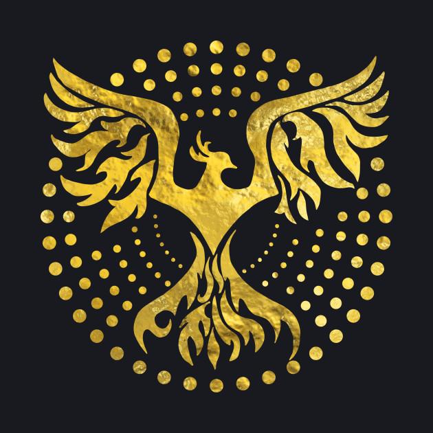 Gold Decorated Phoenix Bird Symbol Phoenix Baseball T Shirt
