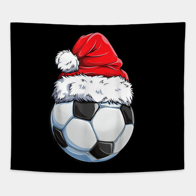 Christmas Soccer Ball Santa Hat Funny Sport Xmas Boys Men T Shirt