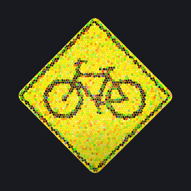 Bike Road Sign - Mosaic Style