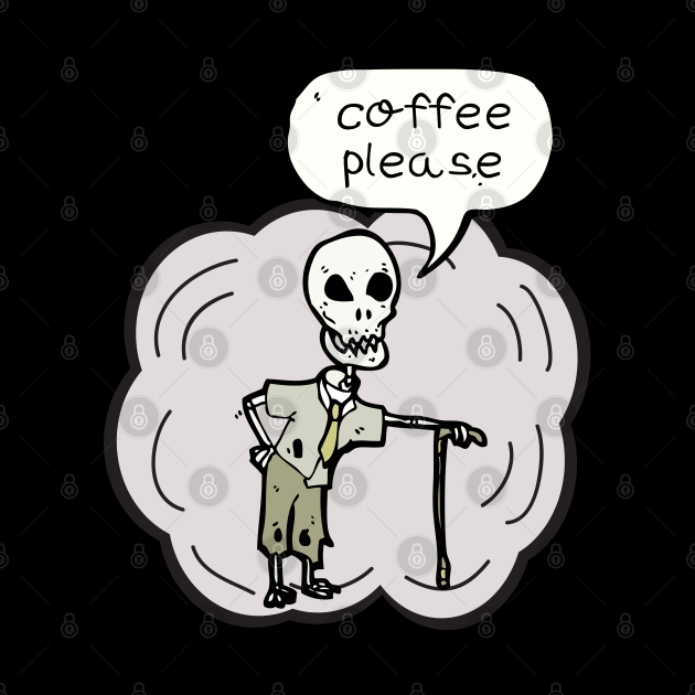 Skleton Ask to Drinking Coffee