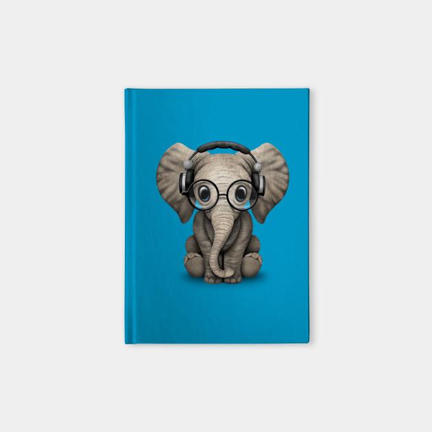 Cute Baby Elephant Dj Wearing Headphones and Glasses