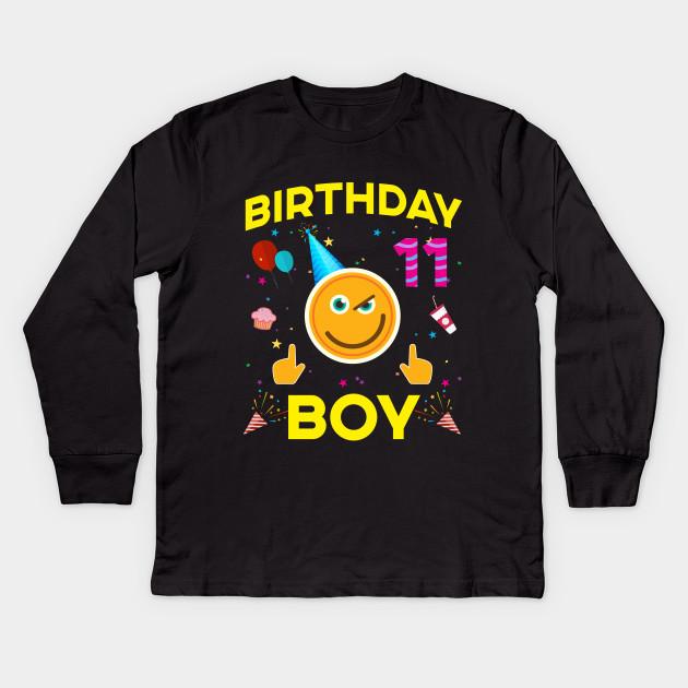 Kids Emoji 11th Birthday Boy T Shirt Fun 11 Years Old Gift Long Sleeve