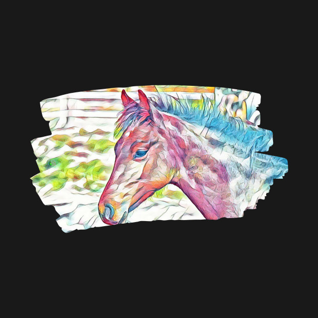 Colorful Horse Art Painting stallion pony mustang bronco mare