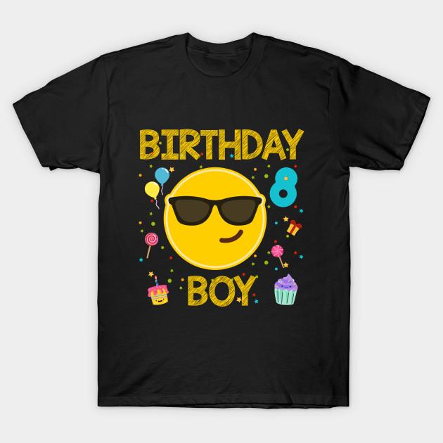 Kids Emoji 8th Birthday Boy T Shirt Fun 8 Years Old Gift