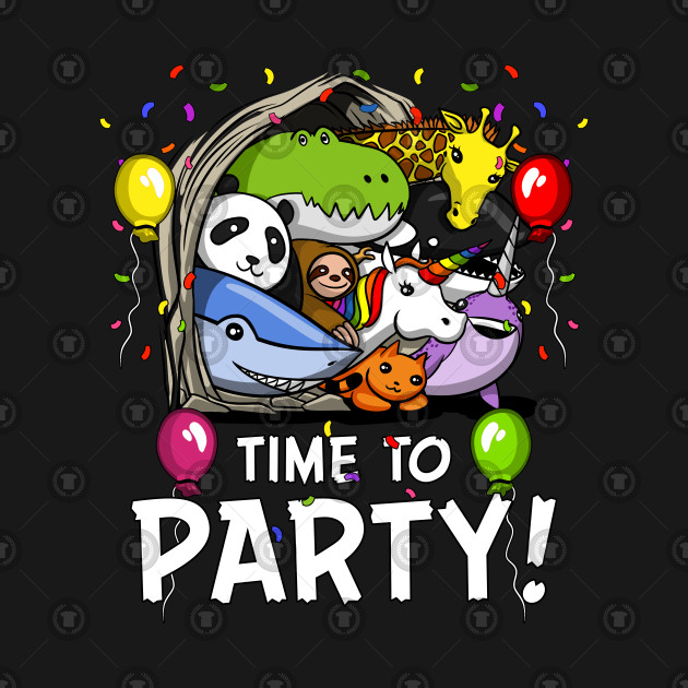 Funny Cartoon Animals Time To Party Birthday
