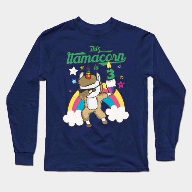 Dabbing Llamacorn Alpaca Llama Unicorn 3RD Birthday Long Sleeve T Shirt