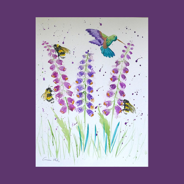 Hummingbird, bumble bee and foxglove