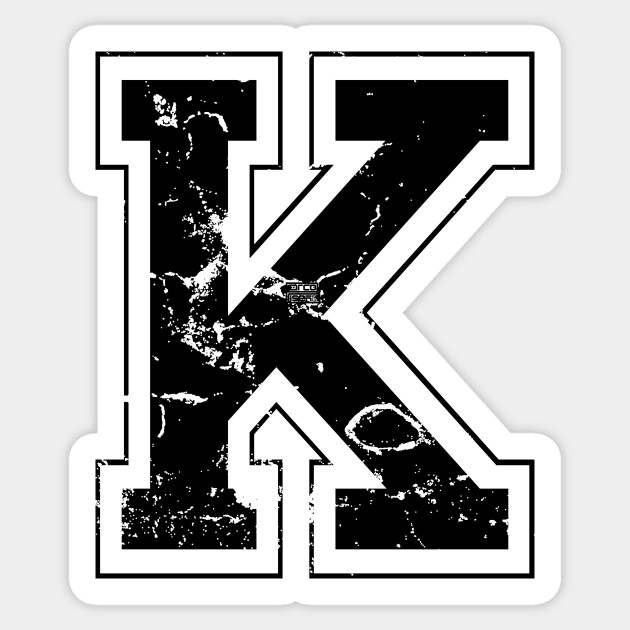 Initial Letter K Black Jersey Sports Athletic Player Jersey Letter