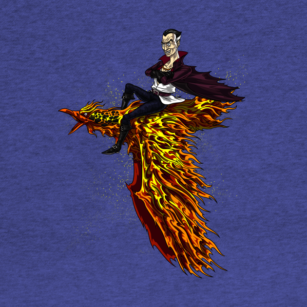 Vampire Riding Fire Phoenix Bird Scary Fantasy