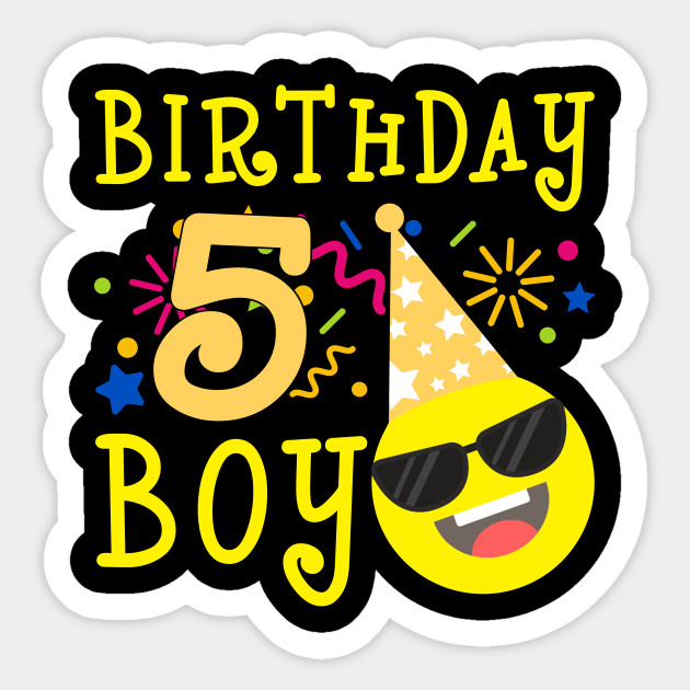 Kids Emoji 5th Birthday Boy T Shirt Fun 5 Years Old Gift
