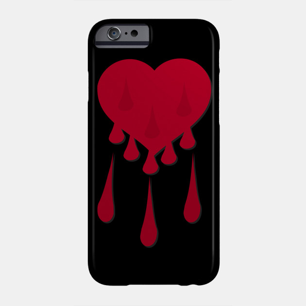 red heart with drops, valentines day, gothic, romantic Phone Case