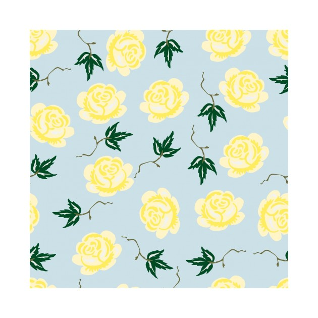Yellow & Blue Floral Pattern
