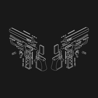 Exploded blueprint t shirts teepublic twin guns t shirt malvernweather Choice Image