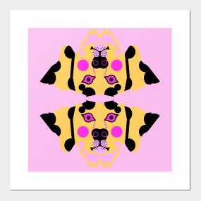 Dalmatian Dog Face Neon Pink And Yellow 101 Dalmatians