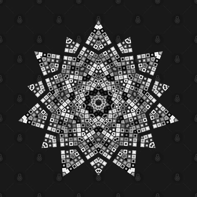 Star Burst Kaleidoscope   Geometric Hexagon Pattern White Black