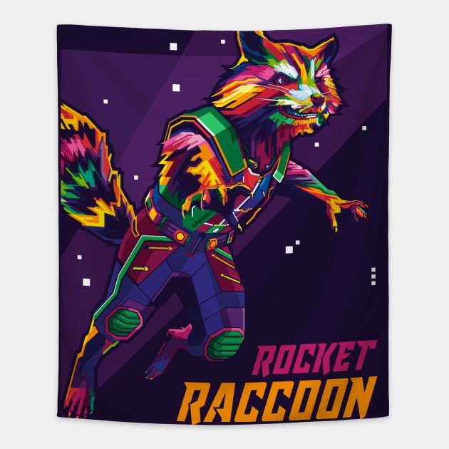Raccoon Endgame Rocket Raccoon Tapestry Teepublic