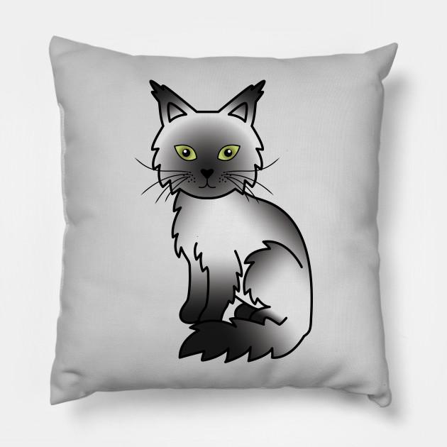 Black Smoke Maine Coon Cat Cute Cartoon Illustration