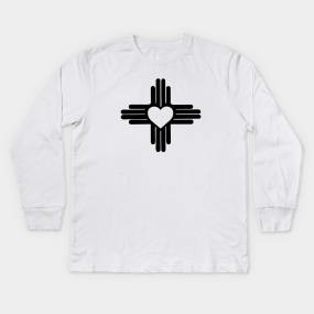 f2e212a8d Zia with Heart Symbol - New Mexico State Flag Kids Long Sleeve T-Shirt