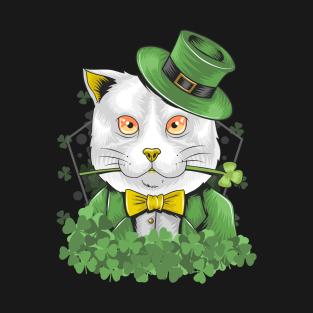 a5aee0f1 St. patrick's cute Cat illustration Shamrock T-Shirt