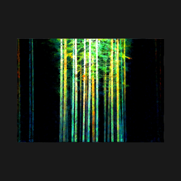Trees in dark forest digital painting