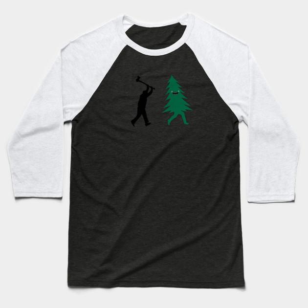 4d07fd490 Funny Christmas Tree Hunted by lumberjack (Funny Humor) Baseball T-Shirt