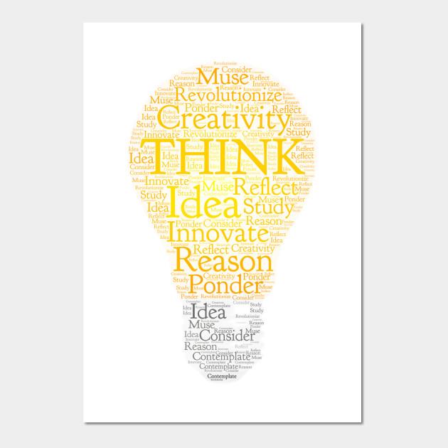 Think Light bulb Orange Light Word Could Art - Think - Wall Art ...