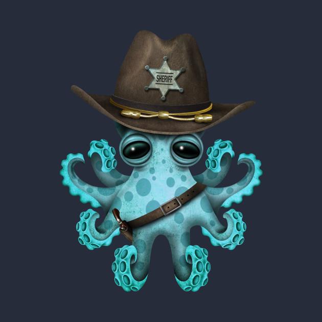 Cute Blue Baby Octopus Sheriff