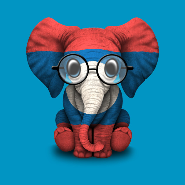 Baby Elephant with Glasses and Laotian Flag
