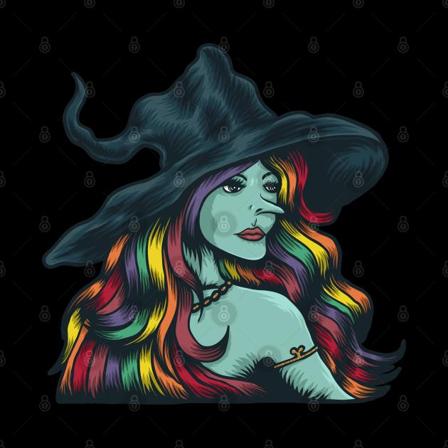 Halloween Blue Witch Colorful Unicorn Hair | Halloween Witch Costume, Halloween Unicorn Witch Artwork Design Illustration