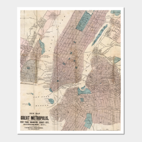 New York City Map Wall Art TeePublic - New york city map wall art