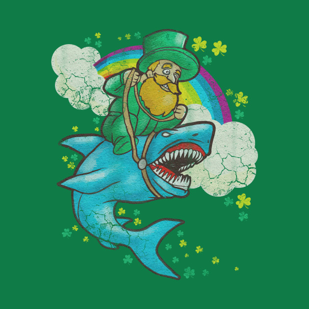 Leprechaun Riding Shark