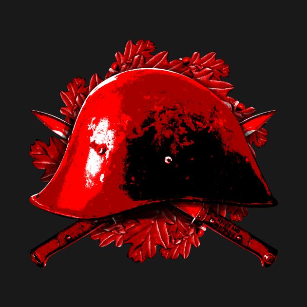 Helmet and bayonets