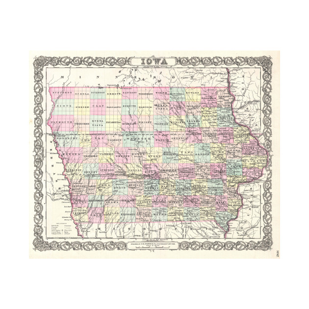 Vintage Map of Iowa 1855 Iowa Map TShirt TeePublic