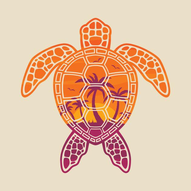 Tropical Sunset Sea Turtle Design Turtle T Shirt Teepublic