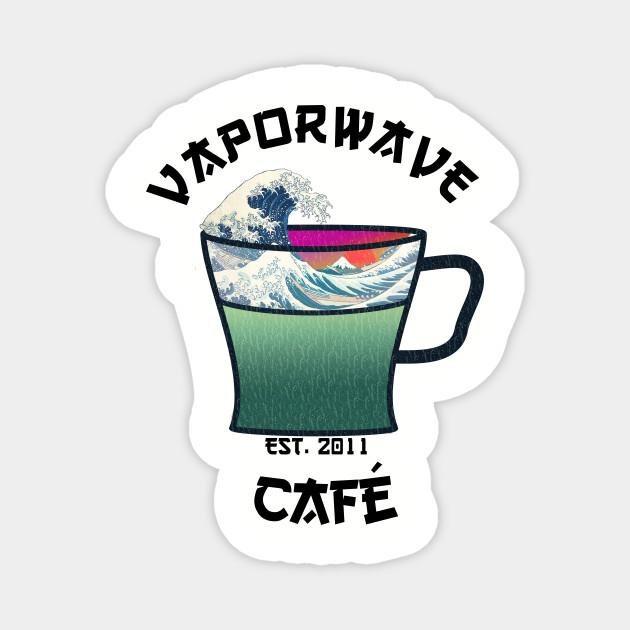 Vaporwave Aesthetic Great Wave Off Kanagawa Cafe Coffee