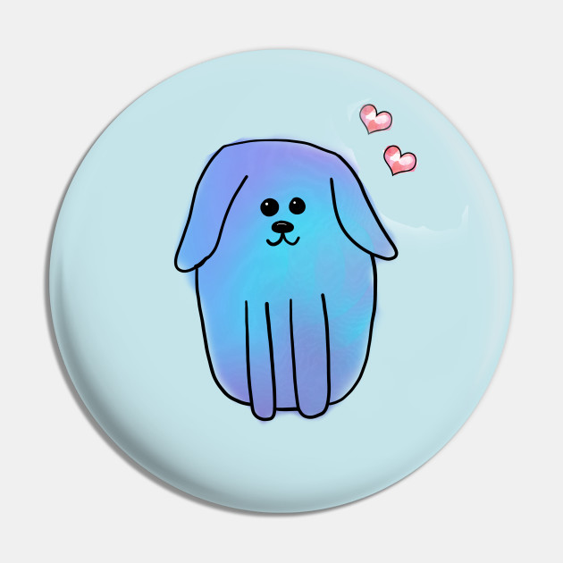 Blue Watercolour Dog with Hearts