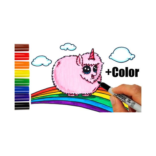 Color Pink Fluffy Unicorn Dancing on Rainbow step