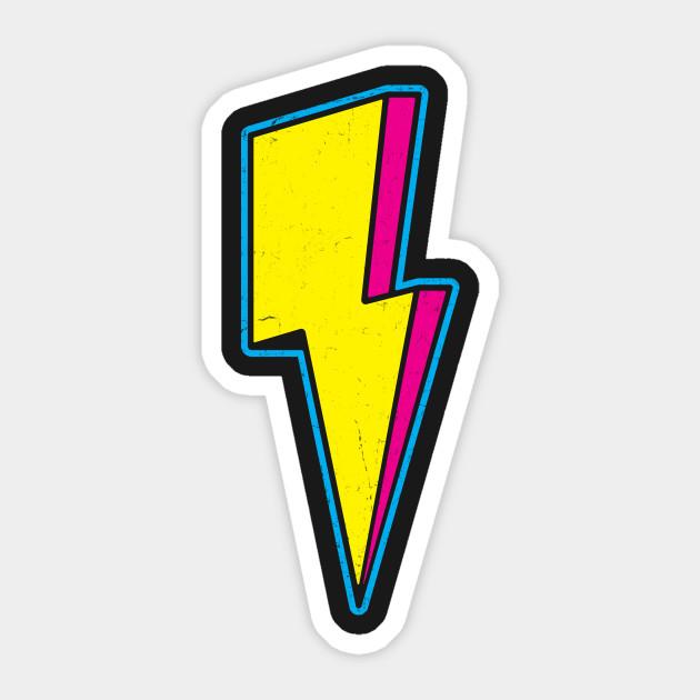 Retro 3D Lightning Bolt - Lightning Bolt - Sticker | TeePublic