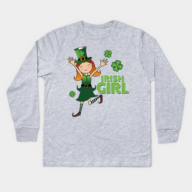 0c32a52a Irish Girl Four Leaf Clover St Patricks Day Shirt Kids Long Sleeve T-Shirt