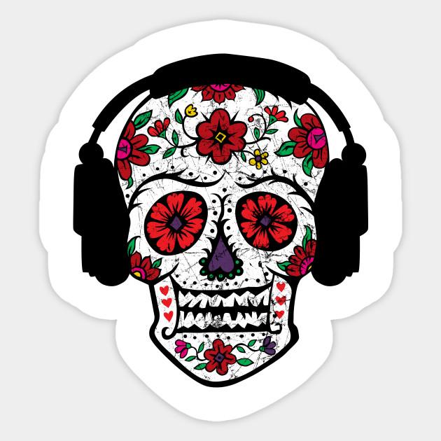 3e5fa9fb329 Sugar Skull Headphones - Sugar Skull Headphones - Sticker | TeePublic