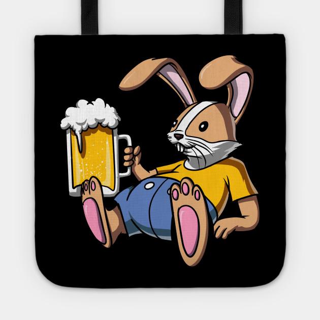 Rabbit Beer Drinking Party Funny Bunny Bunny Beer Tote Teepublic