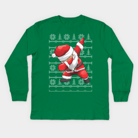 dabbing santa ugly christmas sweater kids long sleeve t shirts teepublic